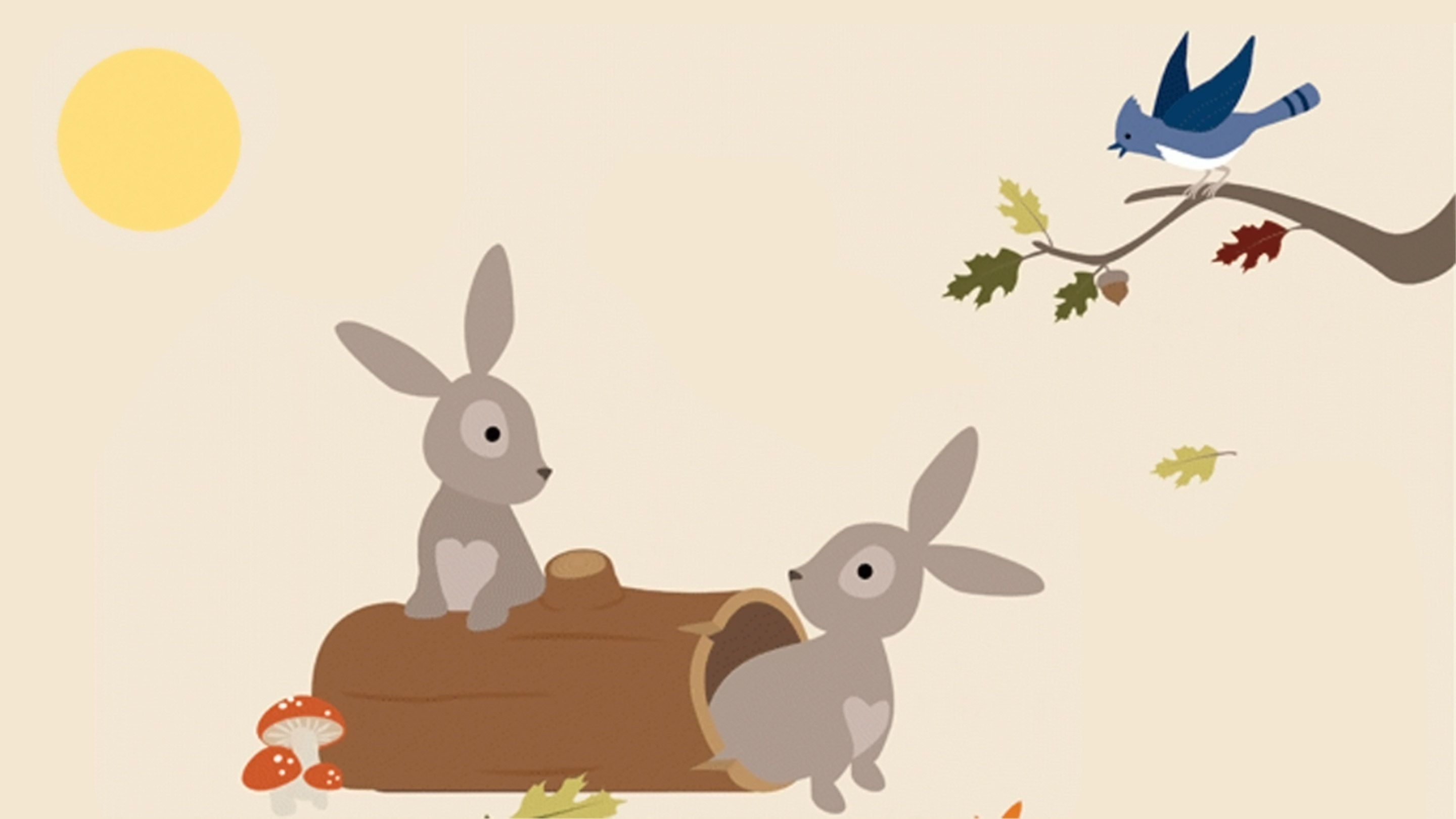 Illustration of one rabbit on a log and another next to it