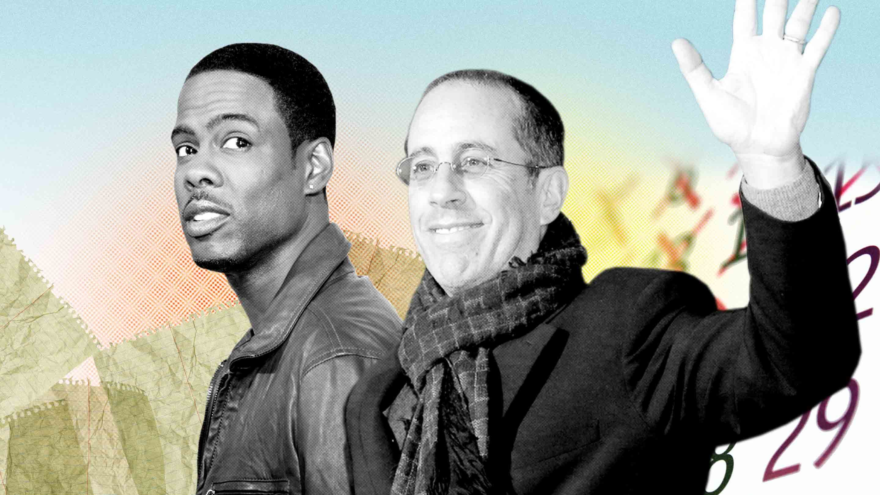 Photo illustration of Chris Rock and Jerry Seinfeld