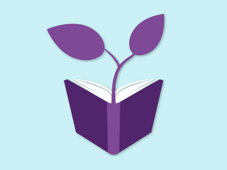 A seedling sprouting out of an open book