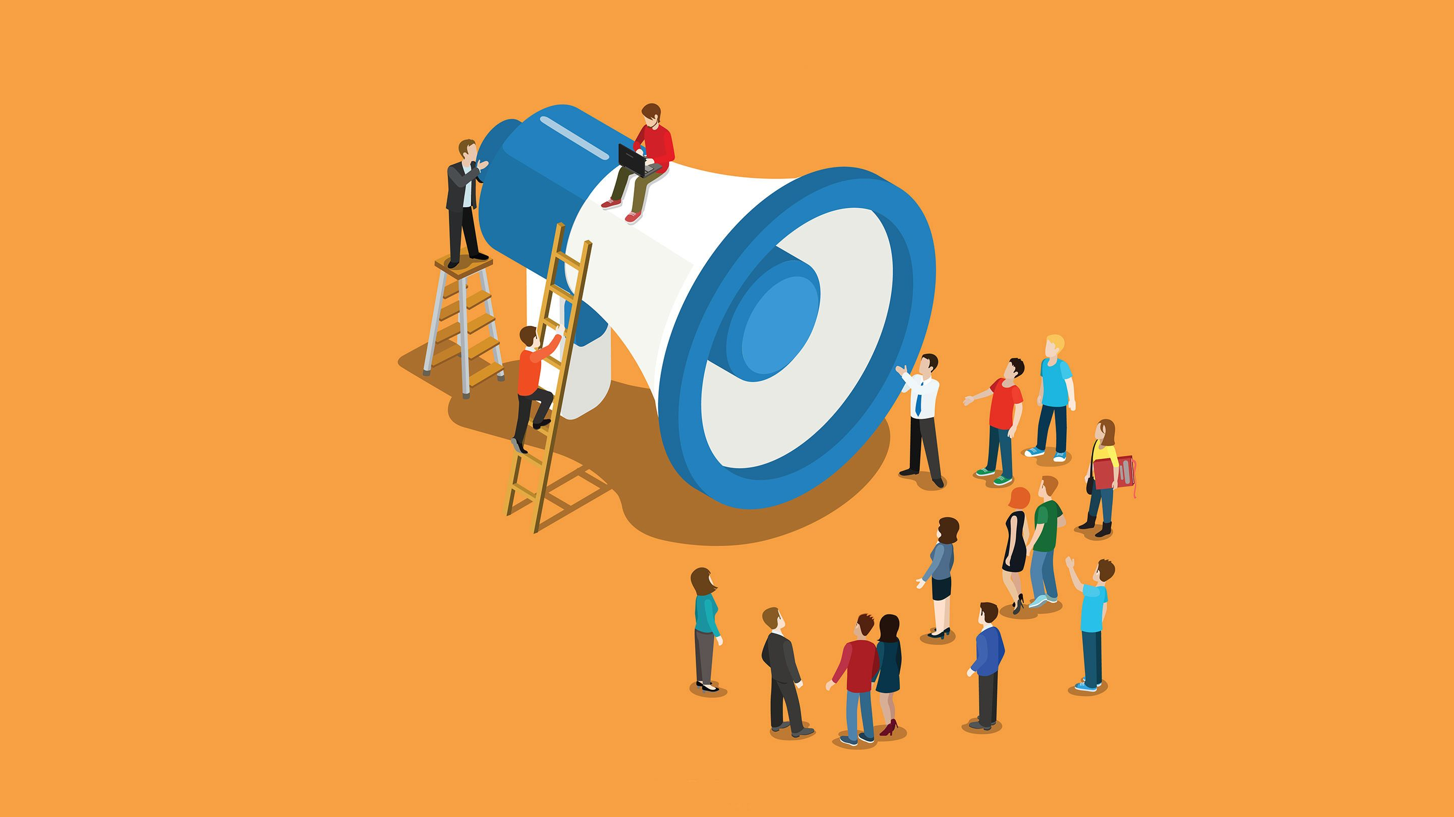 Animated image of twenty people standing in front of a gigantic megaphone.