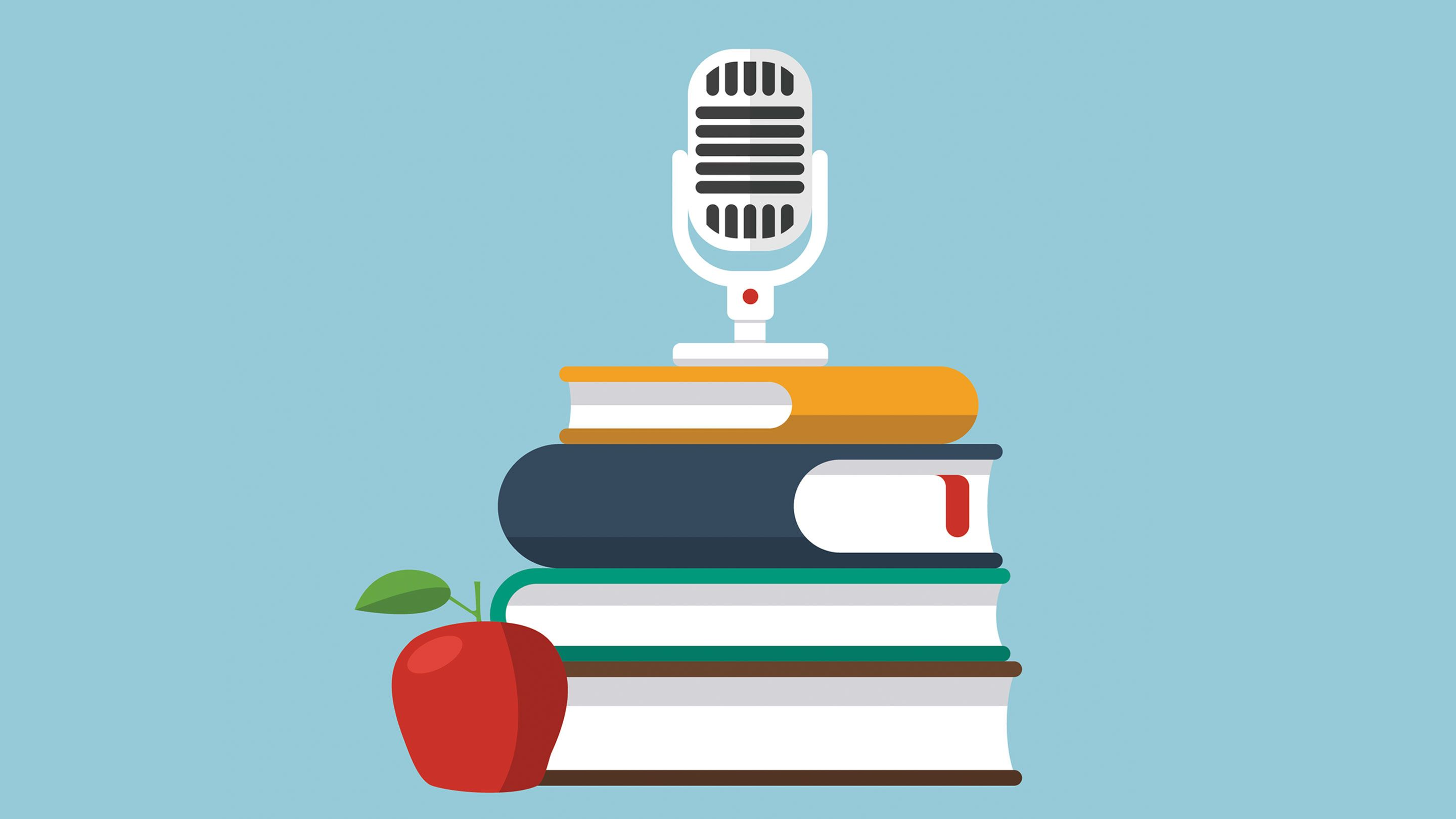 Illustration showing a microphone with a stack of books and an apple