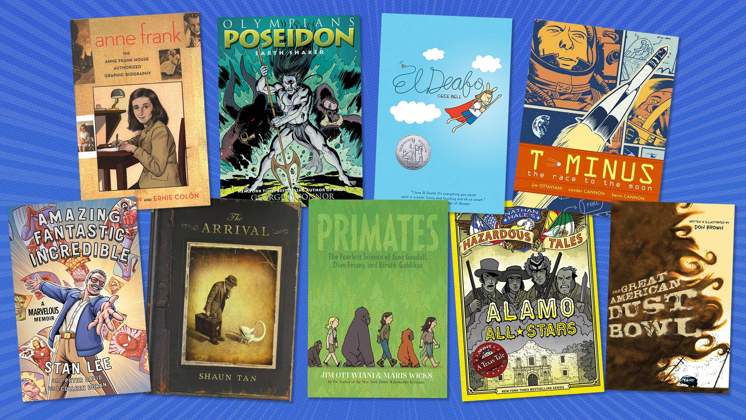 Cover images of the nine graphic novels in the article