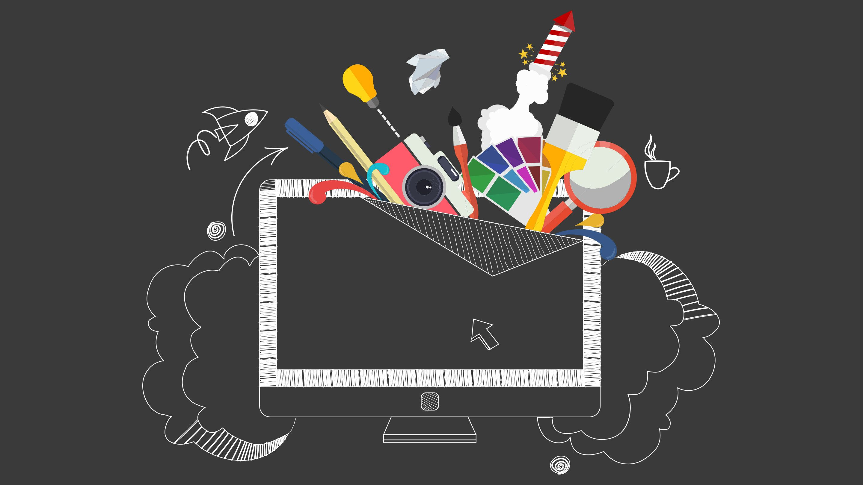 Illustration of a bunch of colorful art tools emerging from a computer monitor