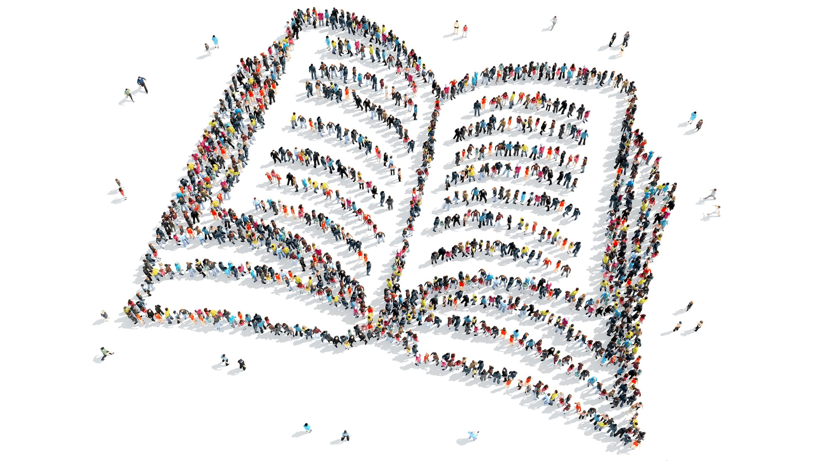 Illustration showing tiny drawn people standing in a pattern that suggests an open book