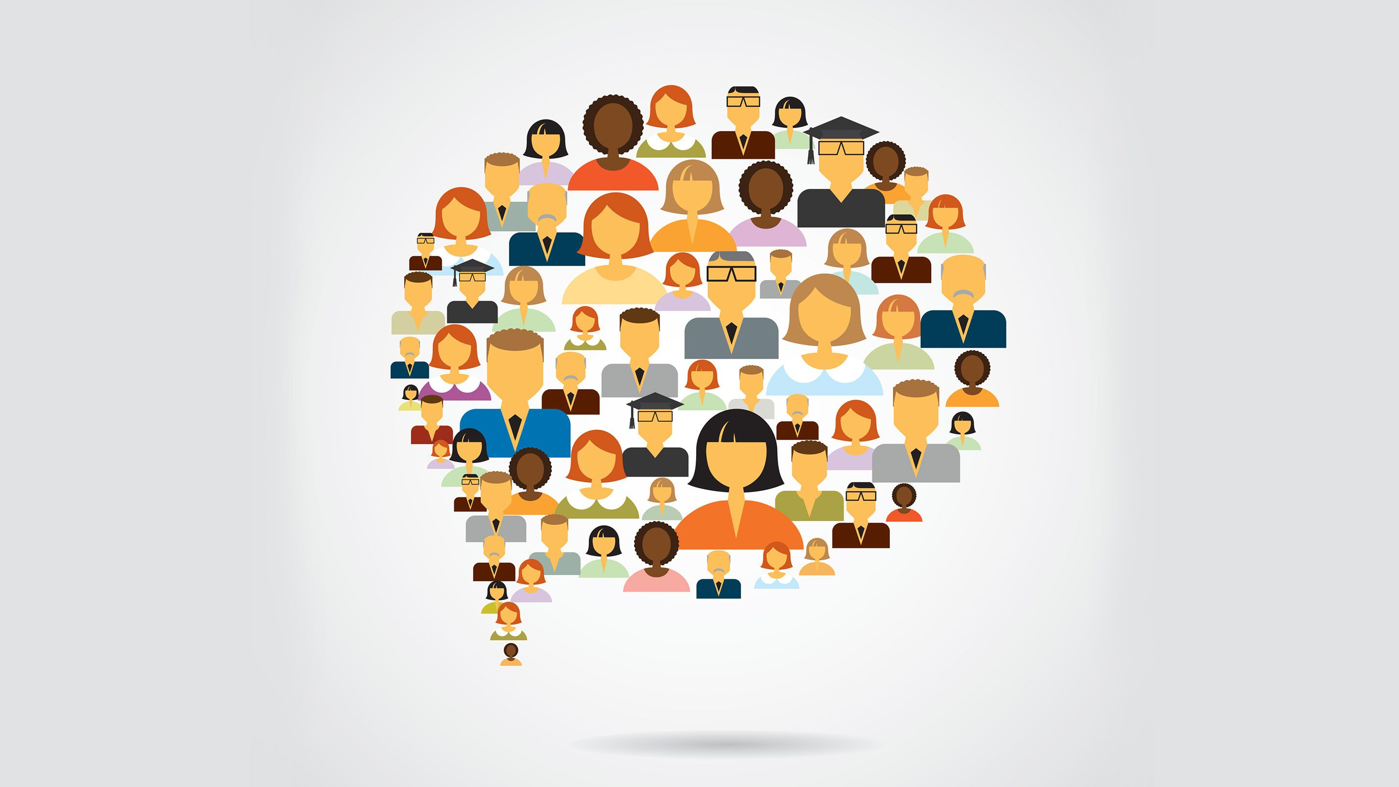 Illustration showing a speech bubble made up of a multitude of small images of people's heads