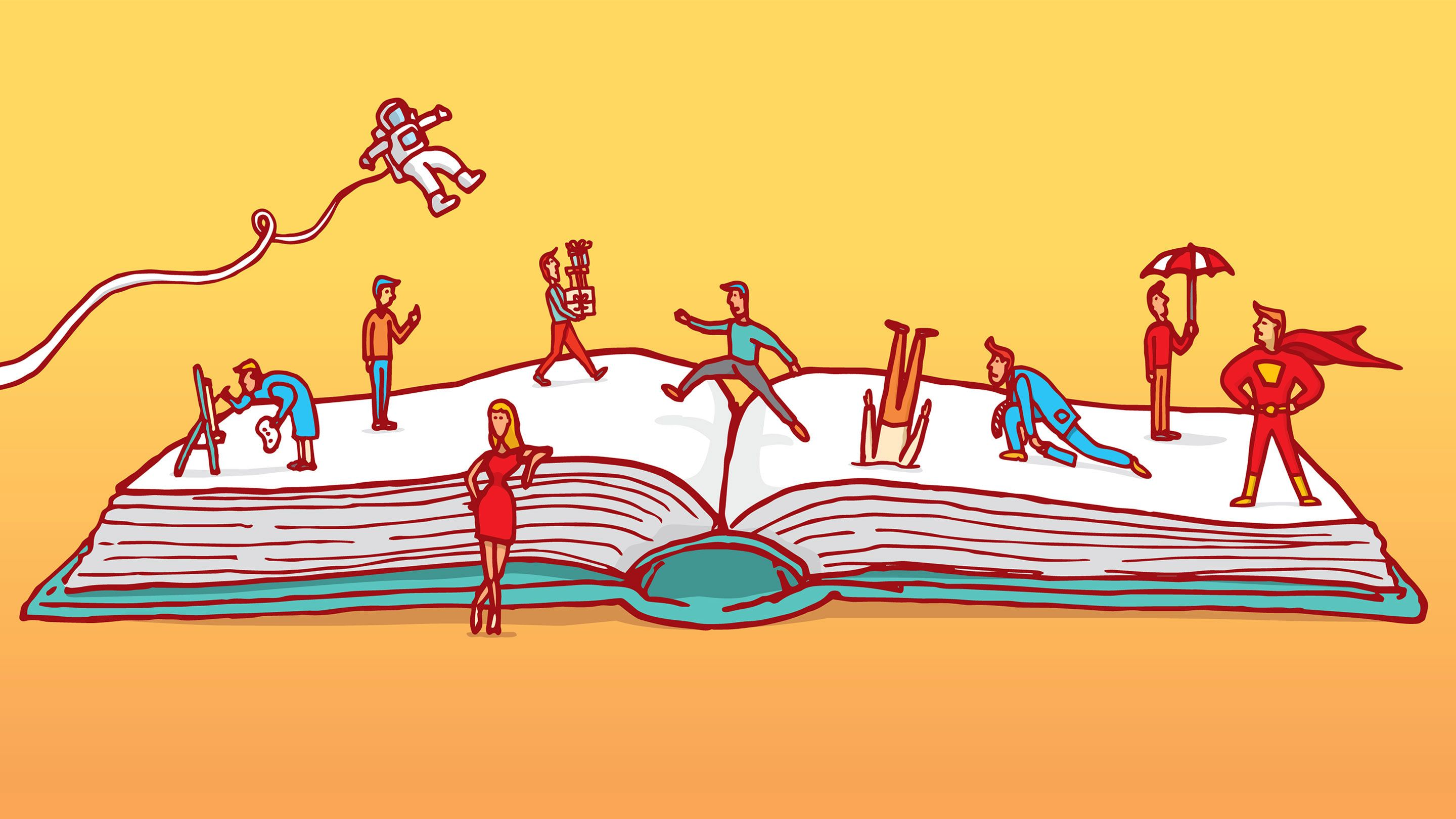 Illustration of various characters rising out of the pages of an open book