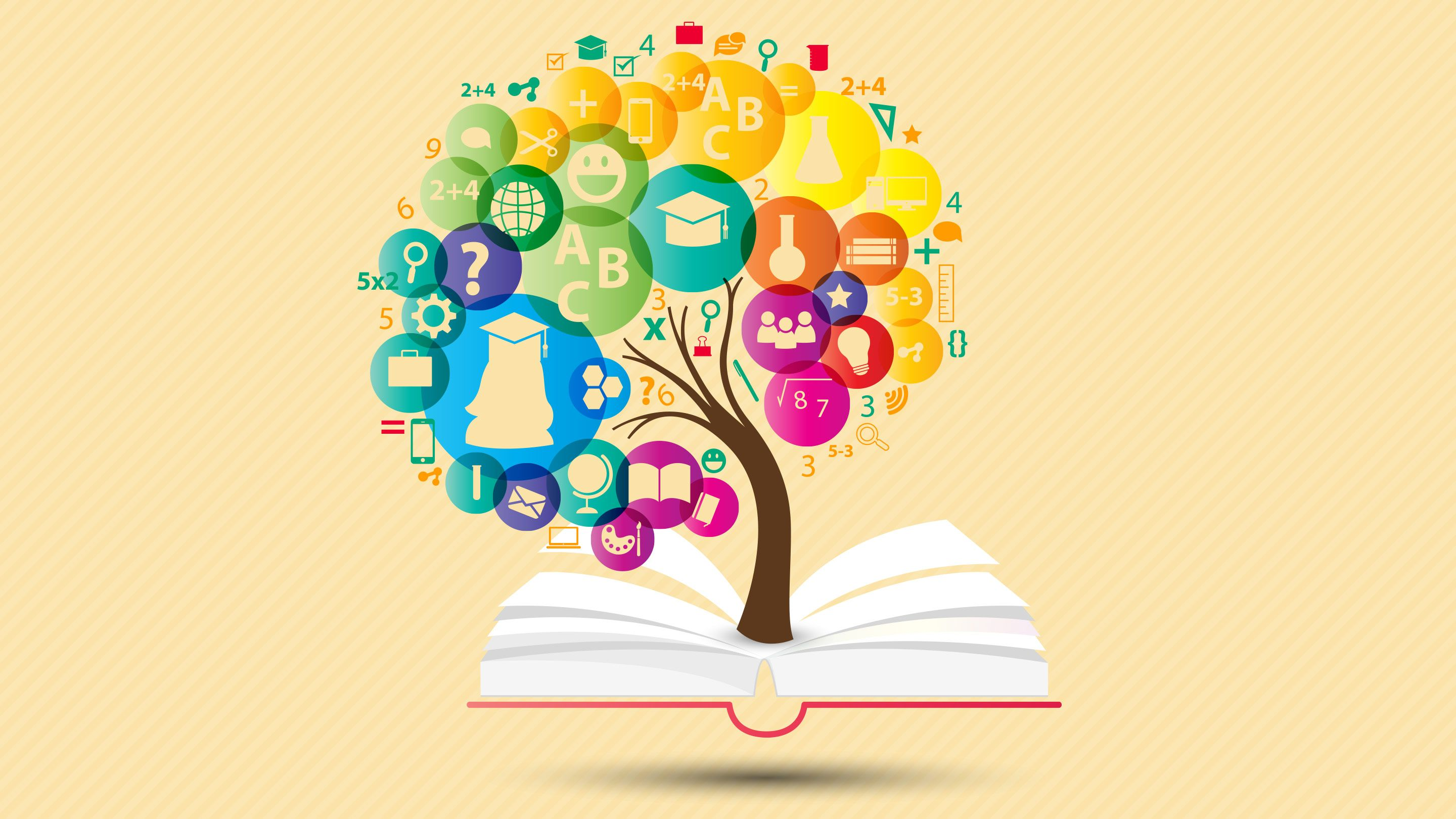 Illustration of a tree growing out of an open book; the leaves are icons that indicate academic subjects