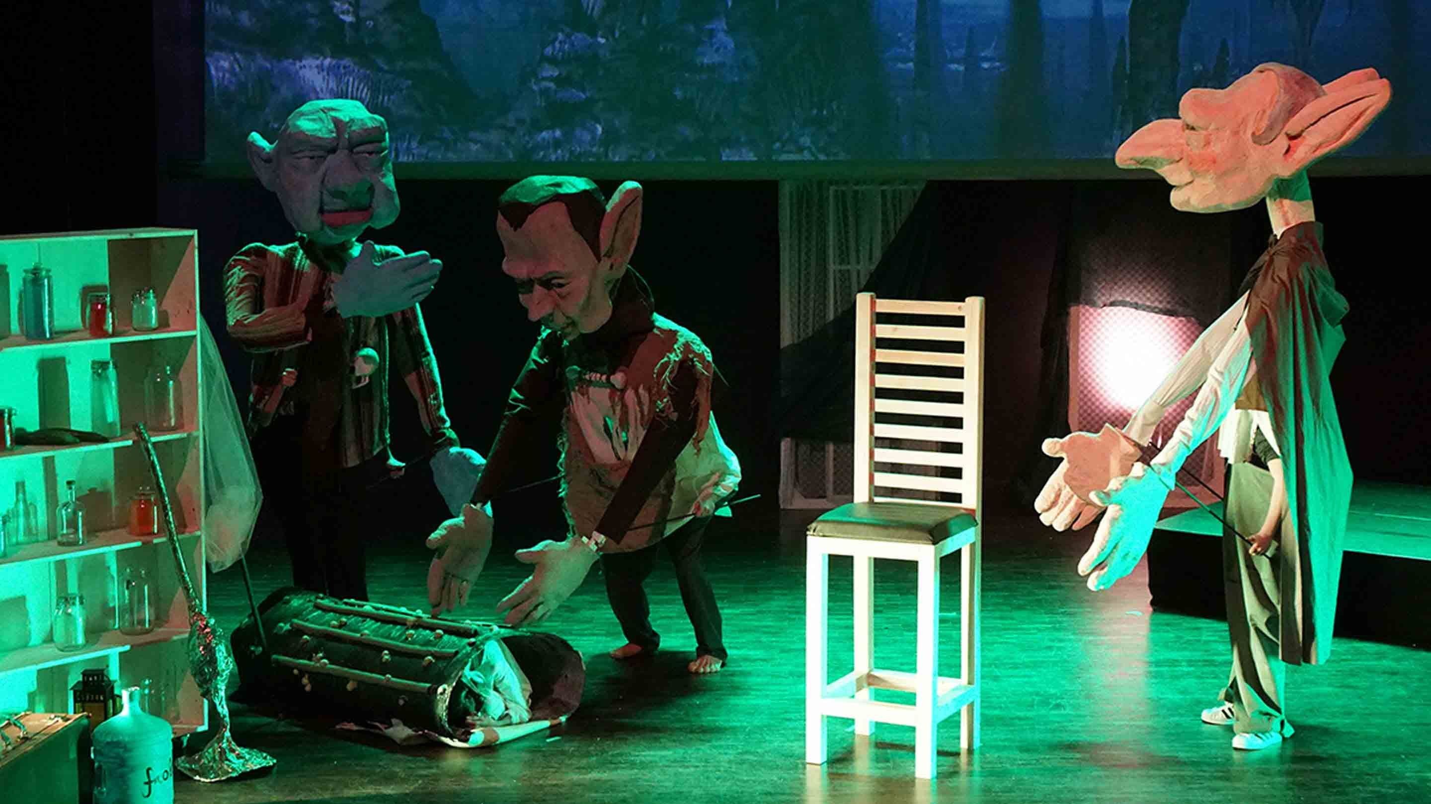 Ten-foot puppets on stage