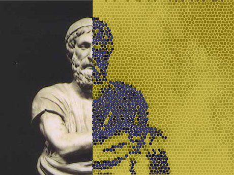 This image is of a statue of Homer, the author of the Iliad and the Odyssey. The left side of the statue is untouched, and the right side of the statue is digitally edited, appearing pixelated in green and purple.