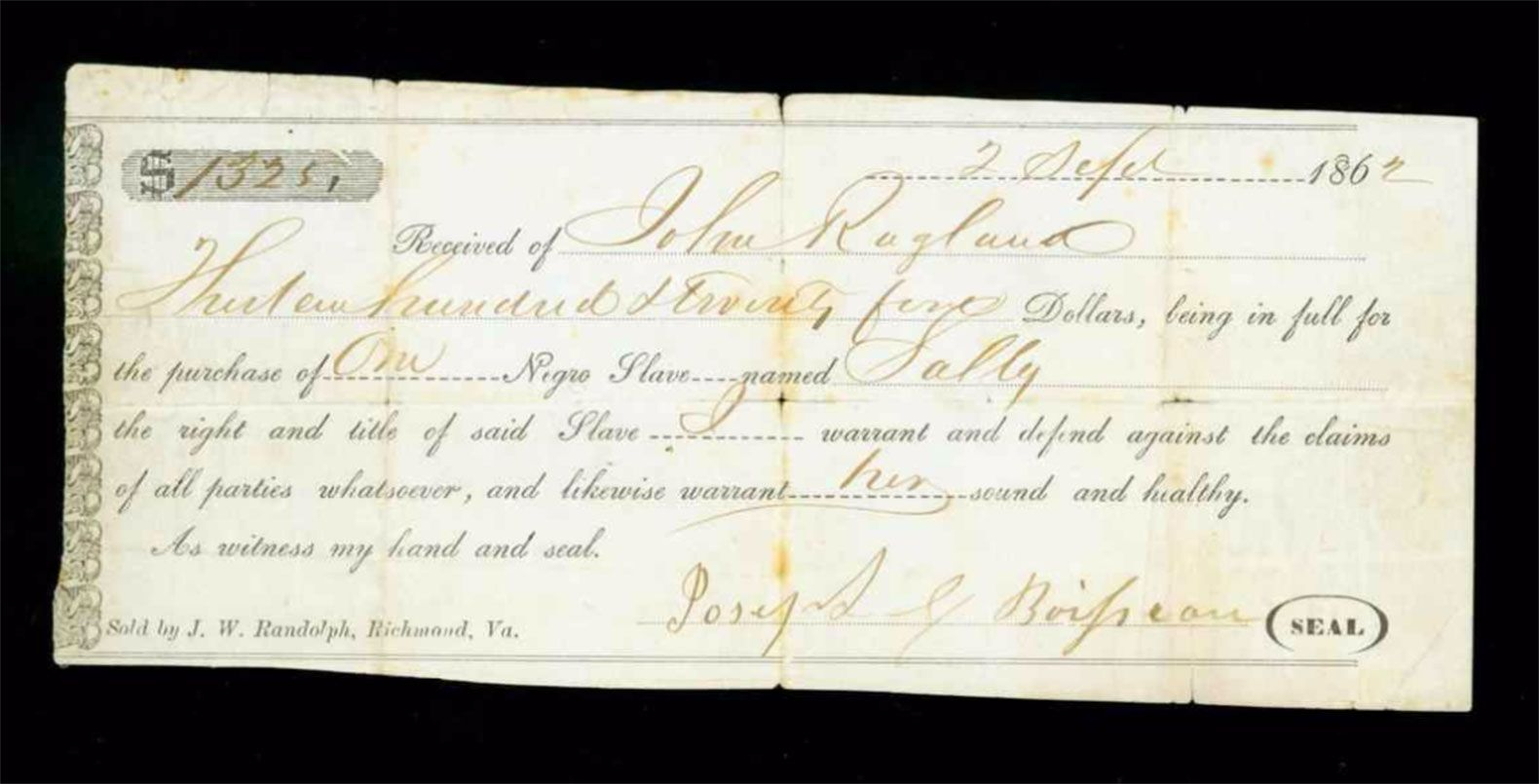 A receipt for the purchase of a slave in 1862, from the museum's Civil War collection, almost all of which was donated by local residents.
