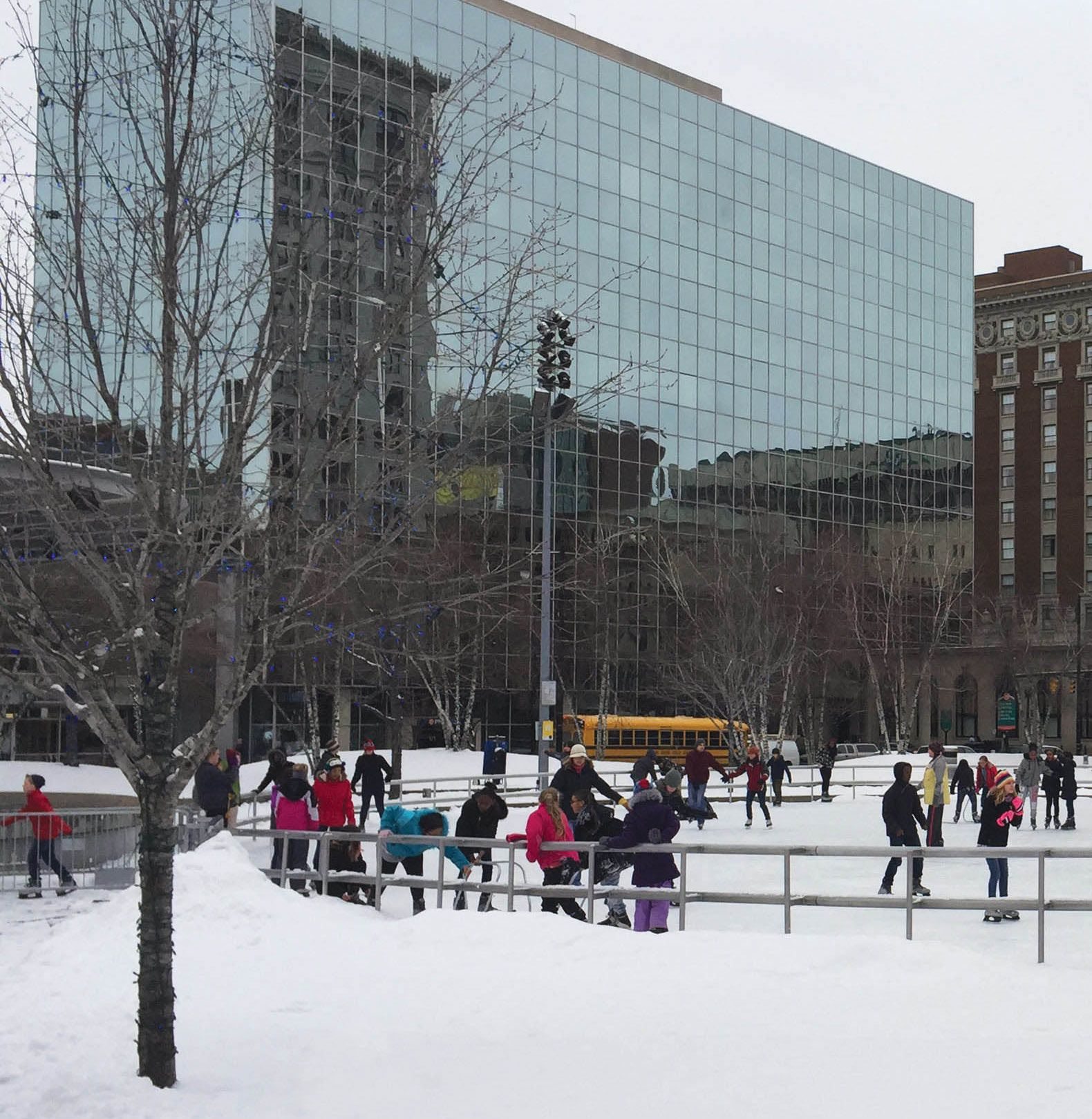 Instead of a gym, PE happens at downtown facilities like an ice-skating rink and the YMCA.