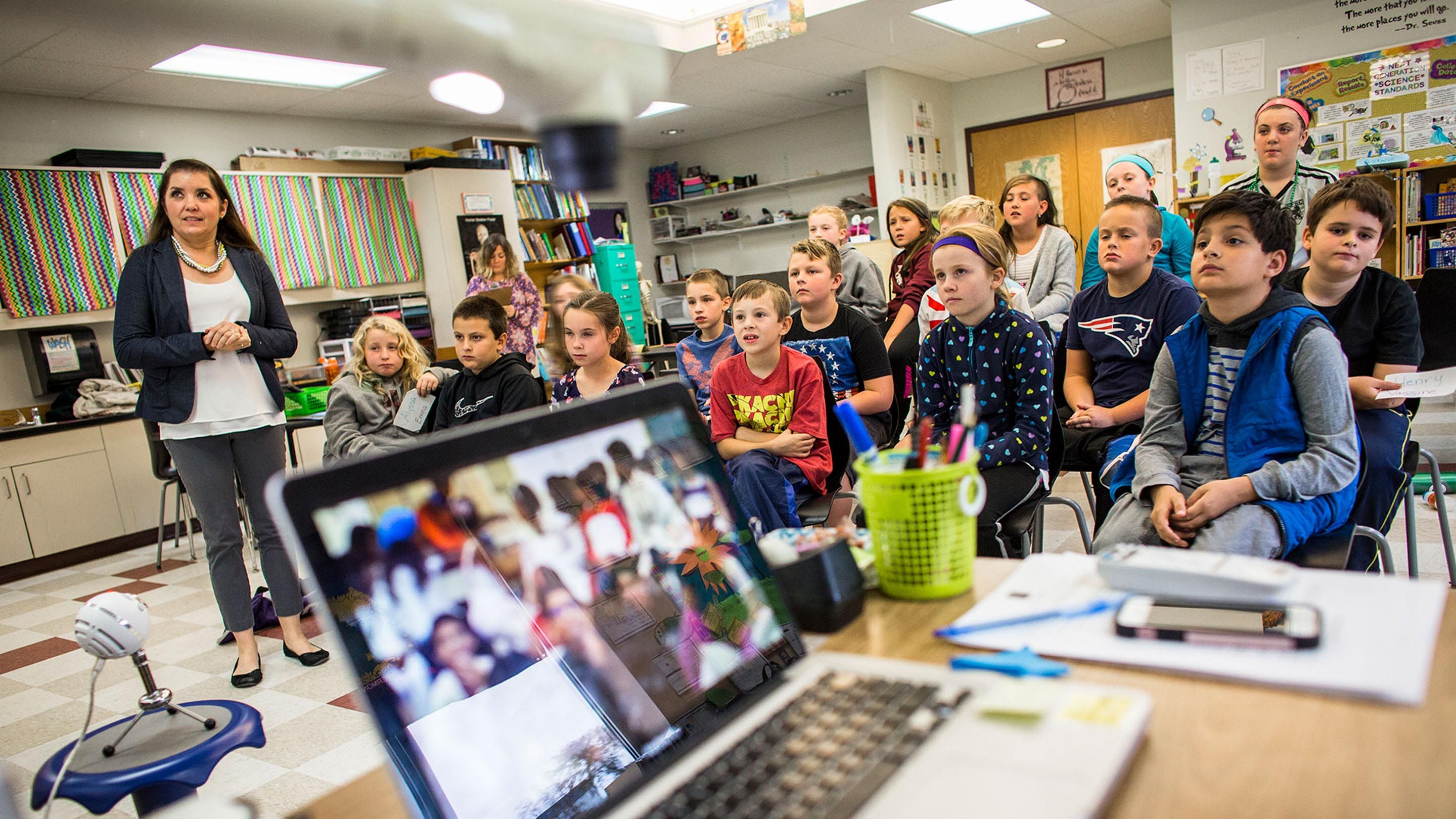 Kendra Myers and her fourth graders at Bellows Free Academy in Vermont listen to presentations by a class of Tunisian students.