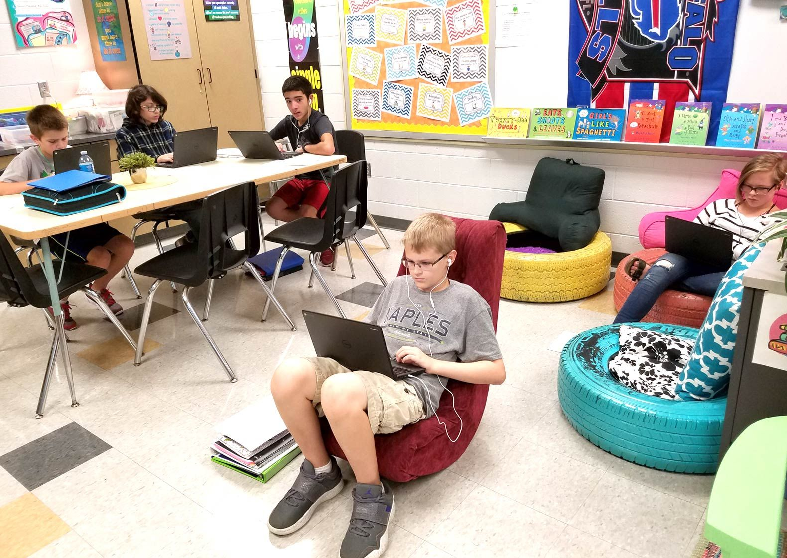 A student uses the video-gaming rocker in the author's classroom.