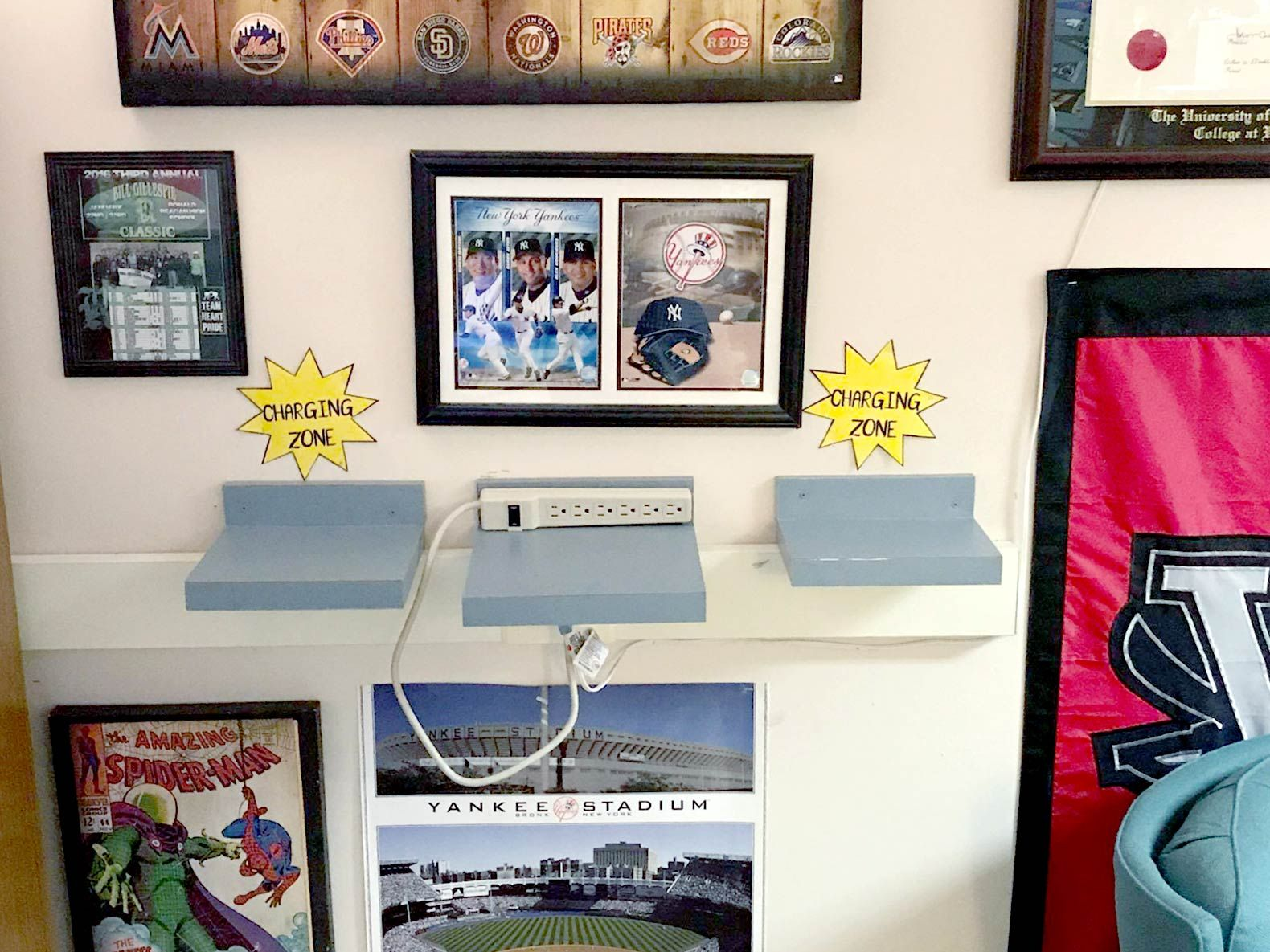 McDaniel set up a charging station for his students' cell phones. A big sports fan, he infuses the room with his personality through sports memorabilia on the walls.