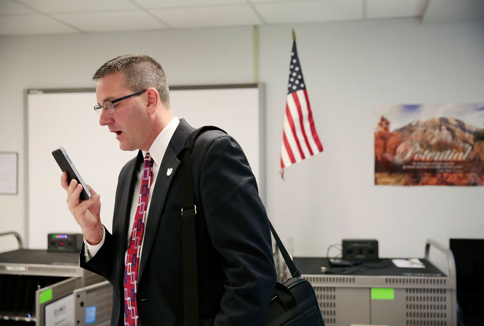 Superintendent Nick Polyak uses the Voxer app to talk to his network of hundreds of other school administrators around the country.