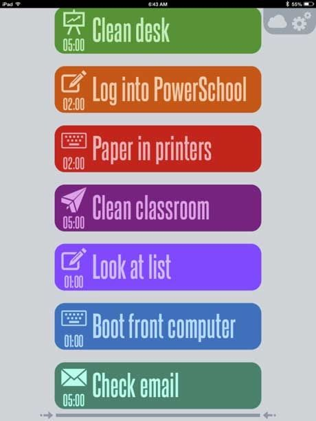 "Items from my 12-minute ""Beginning of school routine"" on the 30/30 app."
