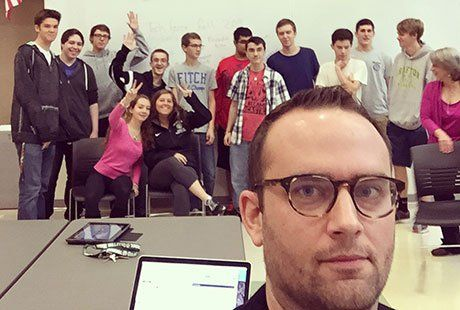 The author's selfie with the 2014-2015 Grafton High School tech force.