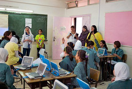 a classroom in Jordan that is part of the Jordan Education Initiative. They are featured in a book published in 2014 by WISE/ Bloomsbury Qatar titled <em>Learning {Re}imagined</em>