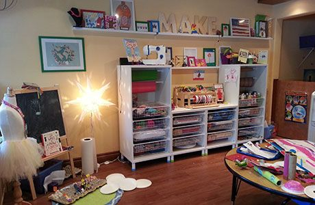 A classroom makerspace, inclusive of woodworking, electronics, sewing, and do-it-yourself materials.