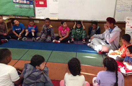 Nikki Street facilitates a Listening Circle.