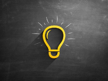 illustration of a light bulb on a blackboard