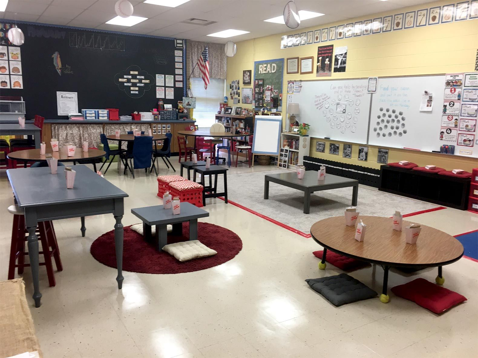 As a Title 1 school teacher, Mileham went the DIY route. Using yard sale and flea market purchases, she repainted three tables, made crate seats, and added cozy touches like cushions on a bench.