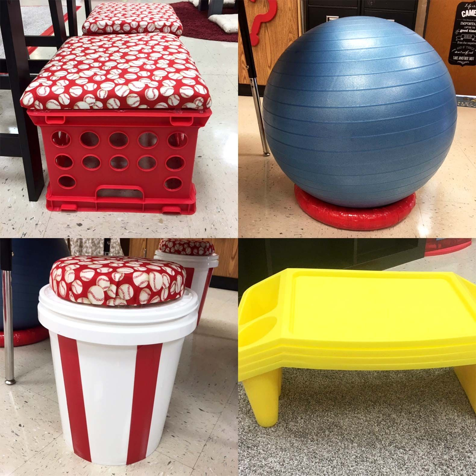 Amy Mileham added a variety of seating options to her classroom, including yoga balls, lap desks, and crate and bucket seats.