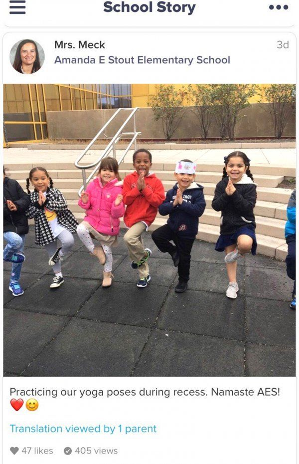 A kindergarten teacher at Amanda E. Stout Elementary shares a School Story update with parents using ClassDojo.