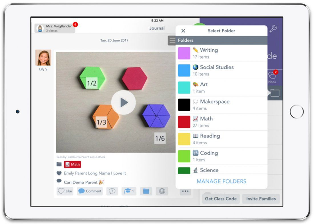 Teachers can browse and organize student work by student, class, subject, or project on Seesaw.