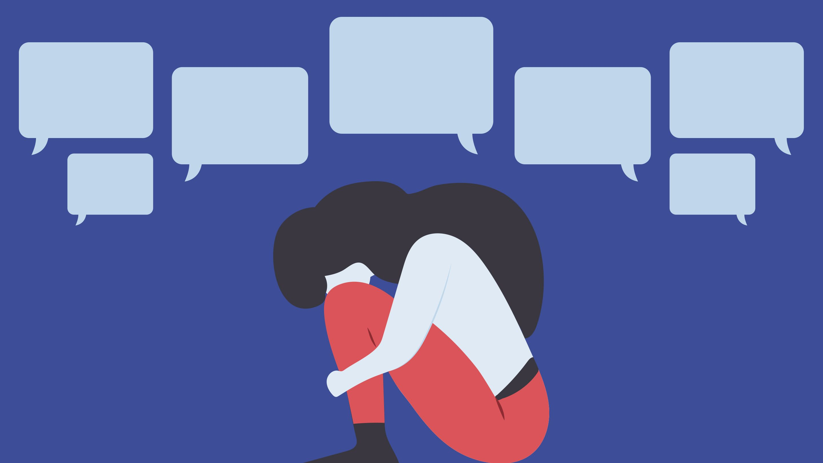 An illustration of a young woman crouched on the ground with her head in her knees and empty dialogue boxes above her.