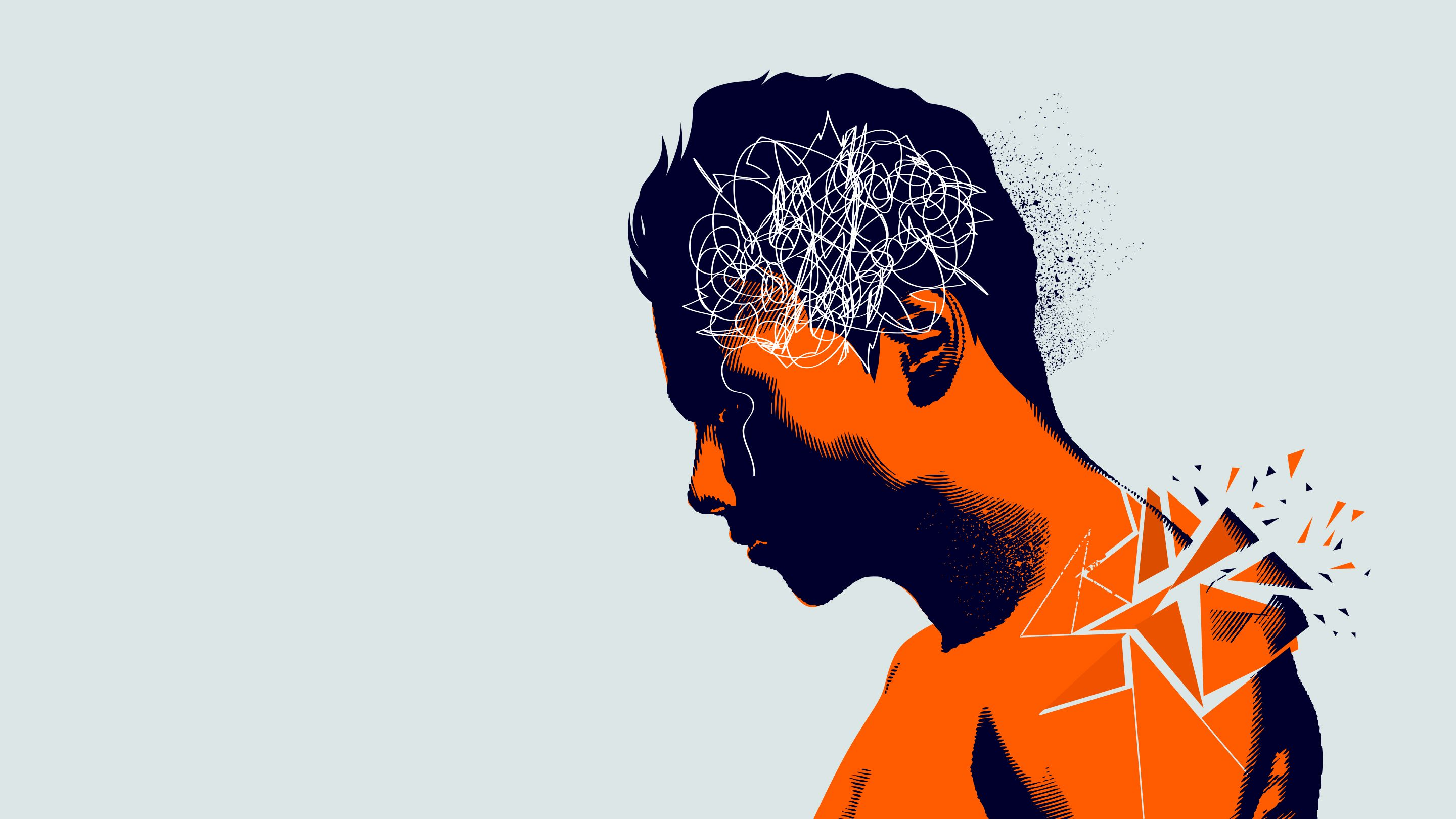 Illustration of a boy with scribbled lines on his head that indicate stress and anxiety.