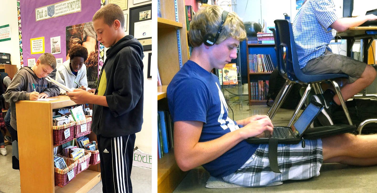 Students can use bookshelves as standing desks or as backrests.