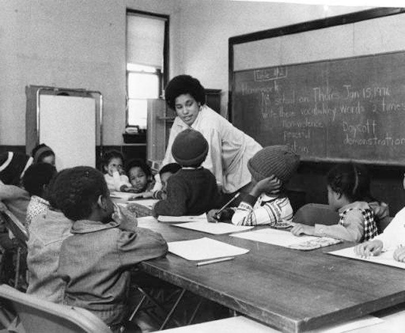 Fasaha Traylor, principal and one of the founders at Nidhamu Sasa, teaching a class