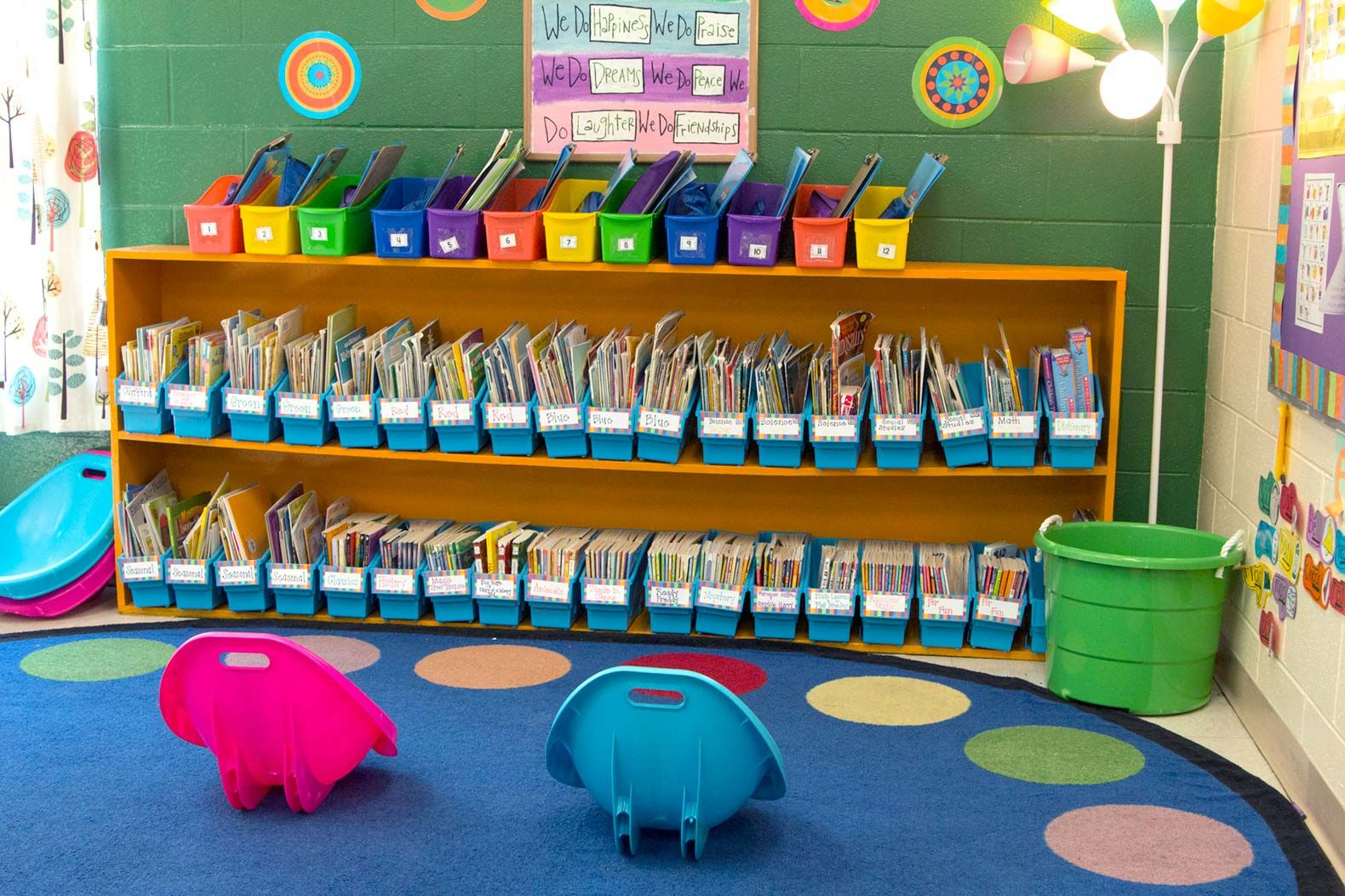 The long bookshelf in Ashley Rice Broomfield's reading corner helps address the elementary school teacher's universal need for storage.