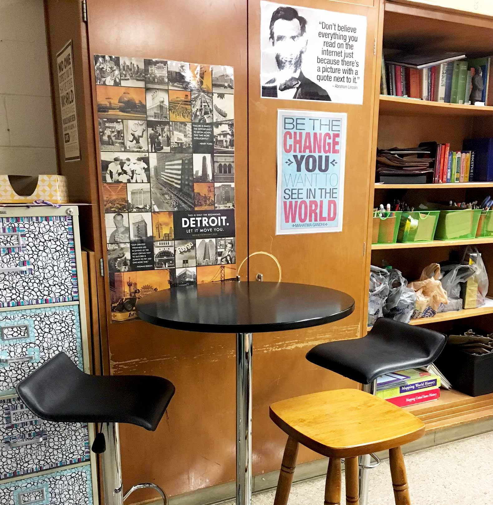Caralis got most of her furniture—like the stools and bar table here—through a DonorsChoose campaign and garage sales. Having different table heights for standing and sitting is a common feature in flexible classrooms.
