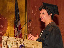 Online, Then In Line:  Cynthia Boland, a graduate of Western Governors University's Teachers College, speaks at her class's commencement in February 2007.