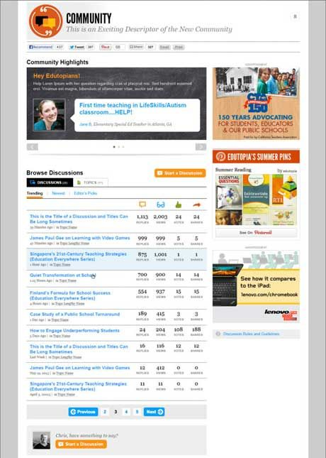 All Discussions page screenshot (Click to enlarge.)