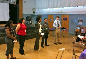 Teacher candidates presenting their project design.