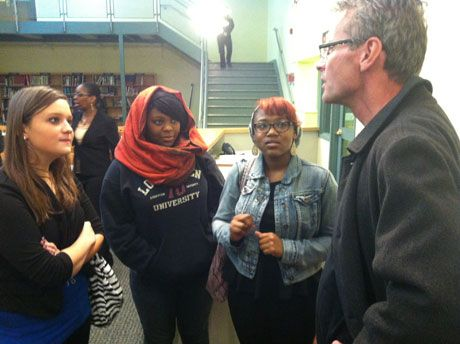 Paul Salopek discusses plans for his journey with students from Roxborough High School in Philadelphia.