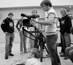 It's a Crane, Not a Bird: Marcus Mader checks out a new crane, a fancy piece of filmmaking equipment that will help the students take smoother footage.