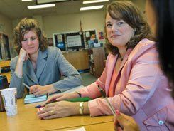 Parent Power:  Parents believe Hogg Middle School (pictured below) could be better. Mothers Andrea Nelson, left, and Cynthia Mullins are working with the principal to make that happen.