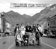 Big Time: The festival's City Lights Project invited the Illinois group to Telluride. From left (standing): Austin Brooks, Brian Minor, teacher Joe Fatheree, Sarah Ruholl, and teacher Craig Lindvahl. Kneeling: Kaitlin Hinkle, Aaron Golden, and Marcus Mader.