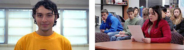 Knowledge in Action:  A project-based learning (PBL) Advanced Placement (AP) student at North High School in Des Moines, IA (above); a high school student gives a presentation in a PBL AP U.S. Government and Politics class (right).