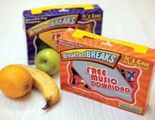 Healthy Packaging:  Geraci created free boxed breakfasts, in recycled cardboard with look-inside contests and go-to-college messages.