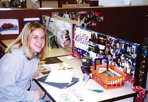 Students decorate their cubicles to reflect their own personalities and interests.