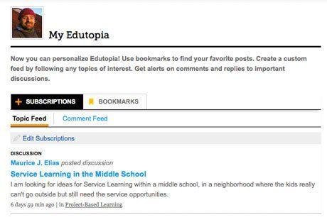 Sample My Edutopia page