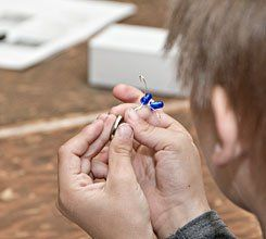 The Eyes Have It:  Even small hands can build the circuits for the Blinkybugs.