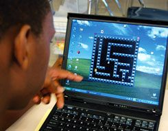 A Crenshaw High School student applies his knowledge of fractions and Cartesian coordinates to create a maze game.
