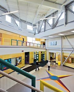 """Daily Variety: DesignShare praises the Polaris School, built by renovating and adding to a former movie theater, for its """"rich variety of spaces"""" and its capacity for renewal and change."""