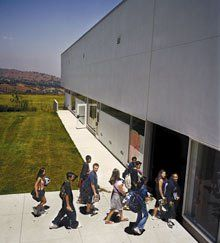 """Street Smarts: Like a Tuscan hill town, the school offers students an abundance of places that the architect calls """"cosmopolitan,"""" to encourage casual congregation and community."""
